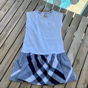 Dress 2T Burberry sleeveless white gray